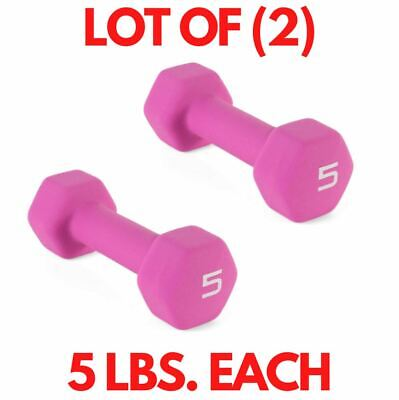 $ CDN29.52 • Buy Lot (2) CAP 5 LB Weight Training Neoprene Hex Dumbells, Purple (10 LB TOTAL)