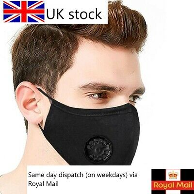 Washable Reusable Cotton Fabric Face Mask With Valve & 1x Free PM 2.5 Filter Lot • 2.99£