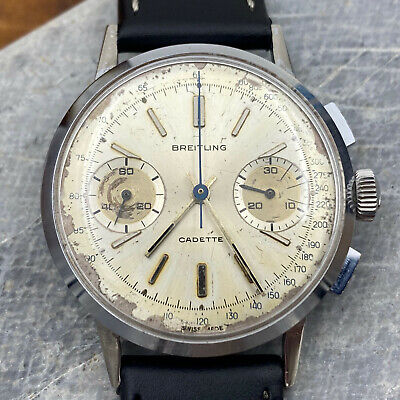 $ CDN1265.40 • Buy Vintage 60s Breitling Cadette Valjoux 7730 Chronograph Watch - Serviced & Adj.