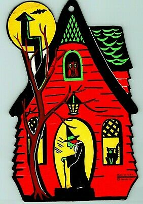 $ CDN34.79 • Buy Vintage Halloween Beistle Witch House Cat Embossed Die Cut Decoration 1960's