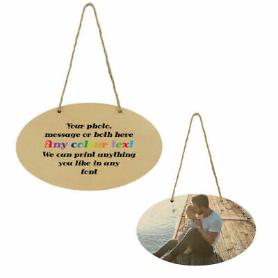 £9.59 • Buy 1 X Custom Natural MDF Oval Door Plaque Personalised  With Photo / Text Su443