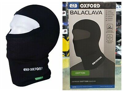 Oxford Cotton Lightweight Motorcycle Motorbike Balaclava Black - 4 Way Stretch • 8.75£