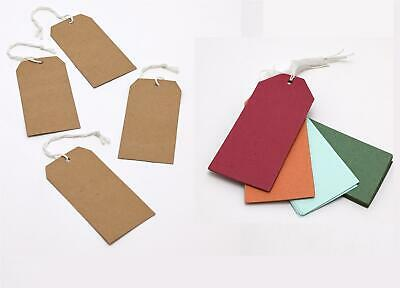 30x Card Luggage Gift Tag Labels Kraft Brown White Multi Coloured Buff Large DIY • 2.29£