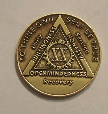 $3.80 • Buy Aa Bronze Alcoholics Anonymous 20 Year Sobriety Chip Coin Token Medallion NEW