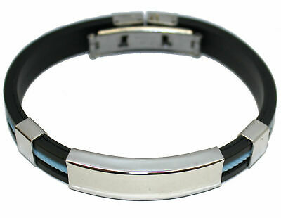 £11.99 • Buy Engraved / Personalised Rubber & Steel Bracelet (blue) Gift Pouch AA68