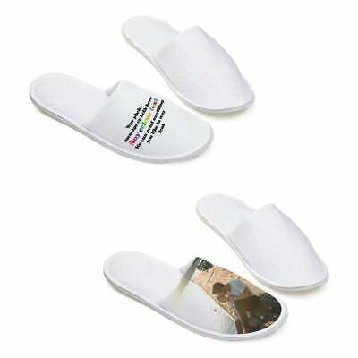 £8.99 • Buy 1 X Pair Custom Hotel Slippers With Rubber Base Any With Photo / Text - Su246