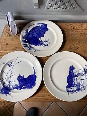 Poole Pottery National Trust Set 6 Blue & White Plate Decorated With Cats 1990's • 95£