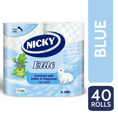 Nicky Elite Luxury 3 Ply Quilted 40 Toilet Rolls, Toilet Tissue - Blue • 17.95£