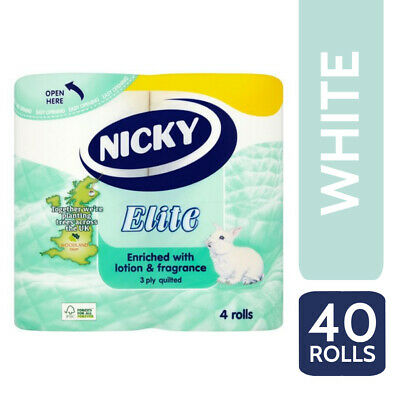 Nicky Elite Luxury 3 Ply Quilted 40 Toilet Rolls, Toilet Tissue - White • 17.95£