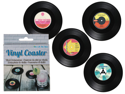 Vinyl Record Coasters-SET OF FOUR-in Matching Gift Box-GREAT GIFT-Retro STYLE • 3.89£