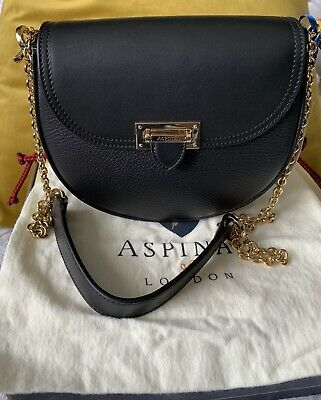 Aspinal Of London Portobello Black Leather Saddle Bag • 220£