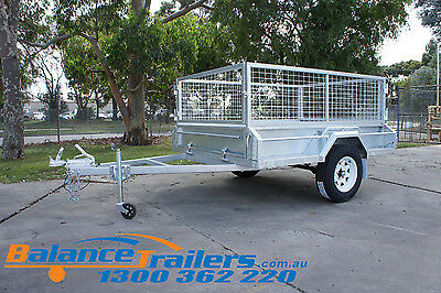 AU2300 • Buy 7x5 GALVANISED HEAVY DUTY BOX TRAILER WITH 600mm CAGE & BRAKE ATM1400KG