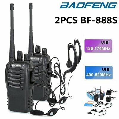 Baofeng BF-888S Dual-band Walkie Talkie UHF VHF Ham FM Two Way Radio Interphone • 18.99£