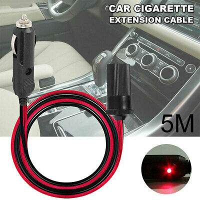 12V Car Cigarette Cigar Lighter Extension Cable Adapter Sockets Charger Cord 5M • 5.56£