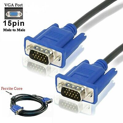 1.5m VGA/SVGA 15 Pin Male To Male Cable Lead For PC Laptop Monitor LCD Extension • 3.99£