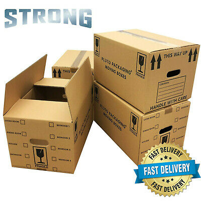 NEW 20 X LARGE DOUBLE WALL Cardboard House Moving Boxes - Removal Packing Box • 14.83£