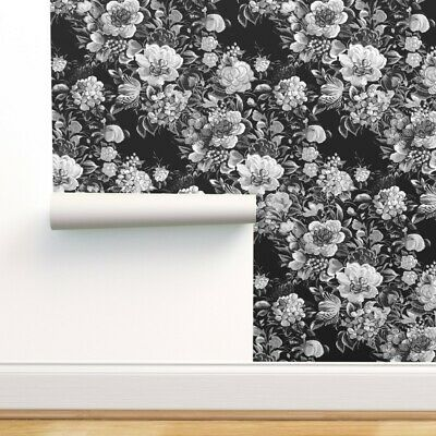Wallpaper Roll Midnight Floral Flowers Black 50S Modern And White 24in X 27ft • 159.43£