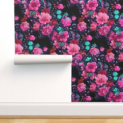Wallpaper Roll Floral Midcentury 50S Modern Flowers Magenta 24in X 27ft • 159.43£