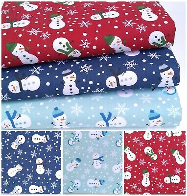 Christmas Poly Cotton Fabric Snowman Snowflake Sewing Material Off The Roll • 2.95£