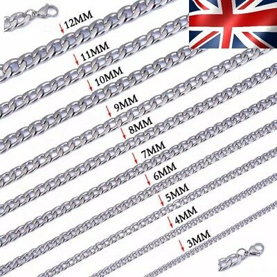 Stainless Steel Men Chain Curb Link Chains 16 -28  3MM 6MM 9MM 12MM, UK SELLER  • 6.99£