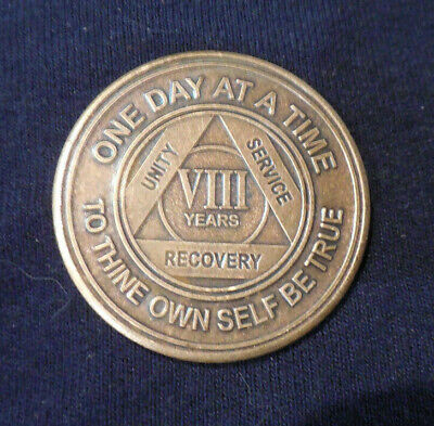 $3.20 • Buy Aa Alcoholics Anonymous Bronze 8 Year Recovery Sobriety  Coin Token Medallion
