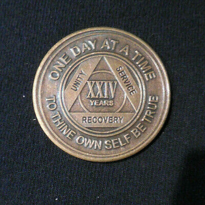 $3.20 • Buy Aa Bronze Alcoholics Anonymous 24 Year Sobriety Chip Coin Token Medallion