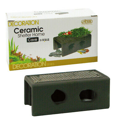 Ista Ceramic Shelter Cave With Plant Mesh Shrimp Pleco Catfish Hide Breeding • 8.99£