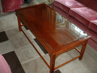 £10 • Buy   Coffee Table. Reproduction Yew, Wooden With Solid Top Glass Insert