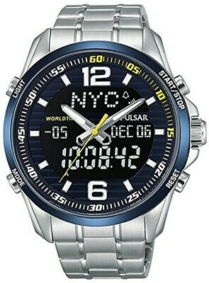 $ CDN203.30 • Buy SEIKO Watch PZ4003X1 PULSAR Men's Silver Band Digital Analog Round Chronograph