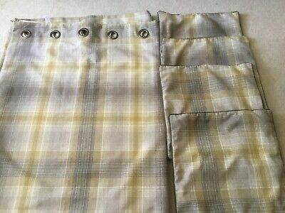 Next Checked Curtains Ochre & Grey Checked 66 X90  With 4 Matching Cushion Cover • 6.22£