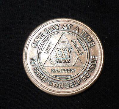 $3.20 • Buy Aa Alcoholics Anonymous Bronze 25 Year Recovery Sobriety Coin Token Medallion