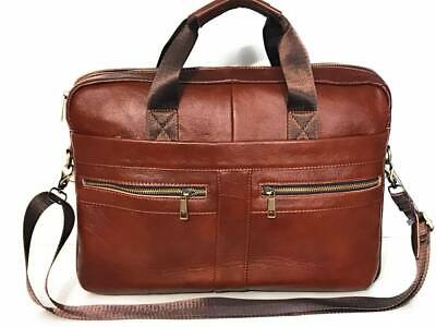 Laptop Bag Real Leather Briefcase Messenger Shoulder Office Brown Women Men • 39.99£