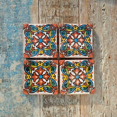 £2 • Buy 4 Ceramic Mexican Tiles SMALL SIZE 5 X 5 Cms LINARIA