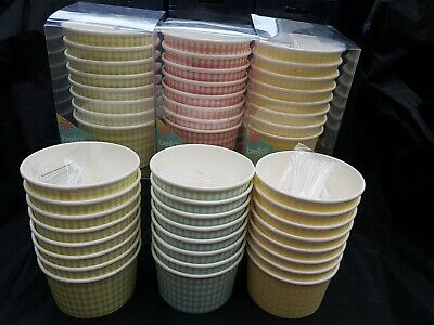16pcs Disposable Party Ice Cream Tubs Bowls & Spoons Parties BBQ Outdoor • 4.99£