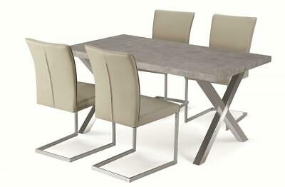Dining Kitchen Table Set Stone Effect Brushed Stainless Steel Legs Four Chairs • 274.99£