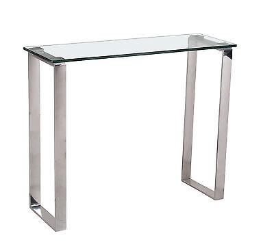 £99.99 • Buy Console Table Hall Table Display Stand Clear Glass Stainless Steel Legs