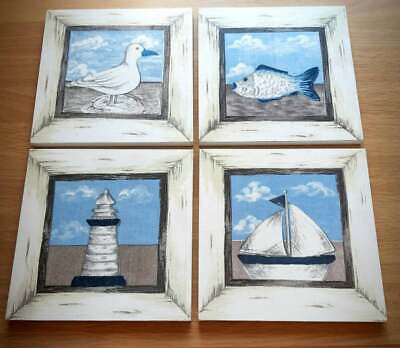 Set Of 4 Ocean Nautical Themed Handmade Bathroom Wall Picture Plaque 6 X 6  • 22£