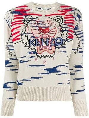 AU479 • Buy Authentic KENZO Tiger Embroidered Jumper (size XS)
