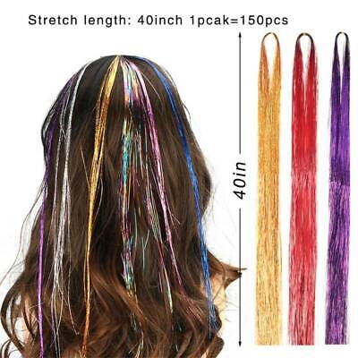 12 Colors 1800 Strands Hair Tinsel Extensions Glitter Hair Streak Hairpiec New • 4£