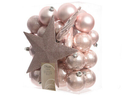 Pack Of 33 Blush Pink Shatterproof Christmas Tree Baubles With Star Tree Topper • 16.99£