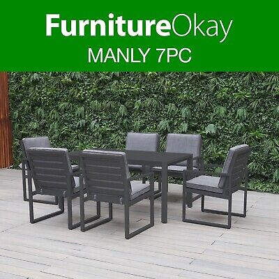 AU1449 • Buy Manly 7pc Aluminium Outdoor Dining Setting Patio Set Chairs Table Furniture