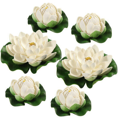 $ CDN11.21 • Buy 6Pcs Artificial Lotus Flower Water Lily Floating Water Plants Pond Small & Large