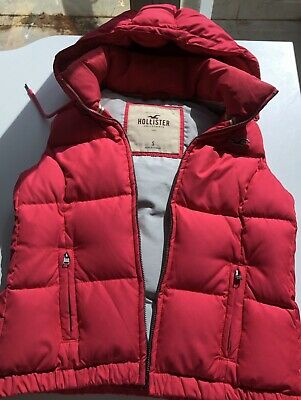 AU13.50 • Buy Hollister Pink Quilted Vest Body Warmer Jacket With Removable Hood Warm Size S