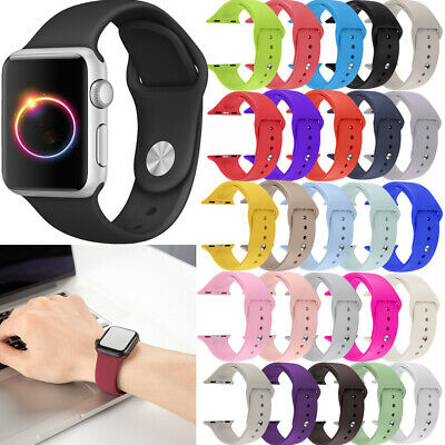 $ CDN4.99 • Buy For Apple Watch Series 5/4/3/2 38/42 Replacement Silicone Wrist Sport Band Strap