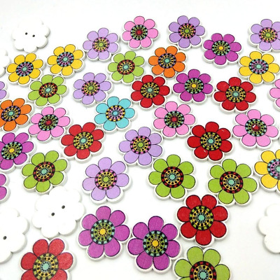 £2.49 • Buy Wooden Colourful Flower Shape Buttons Knitting Sewing Crocheting Scrapbook Craft