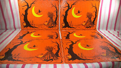 $ CDN36.99 • Buy Spooky Vintage Hallmark Halloween Placemats Flying Witch Cat JOL Set Of 6 NEAT!