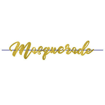 MASQUERADE Party Wall Banner Decorations Room Glitter Letter Ball Night Disguise • 7.69£