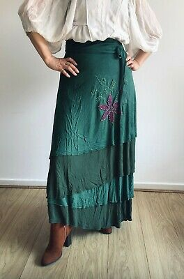 Long Wrap Around Hippy Boho Ethnic Embroidered Flowers Skirt From Nepal One Size • 35£