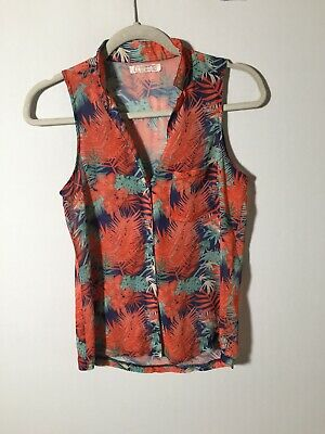 AU17.99 • Buy Pull And Bear Womens Sheer Nature Print Sleeveless Button Shirt Blouse Size S
