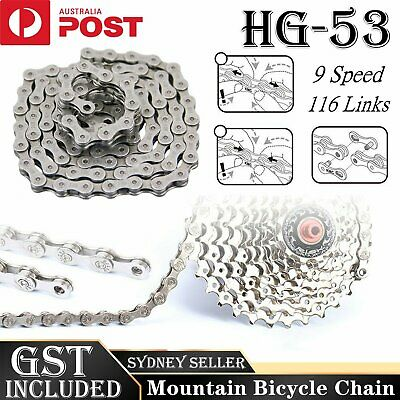 AU15.99 • Buy 116 Links Bicycle Chain For CN-HG53 LX 9 Speed Deore  Mountain Bike Chains  AU